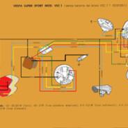 SCHEMA ELETTRICO VESPA SUPER SPORT – VSC1 (senza batteria)