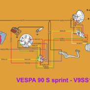 Schema elettrico Vespa 90 S Sprint – V9SS 1