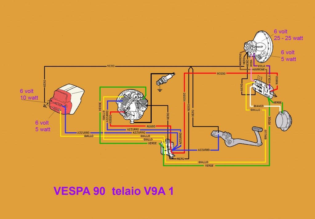 Schema Elettrico Vespa 50 N : Schema elettrico vespa v a club lele novara