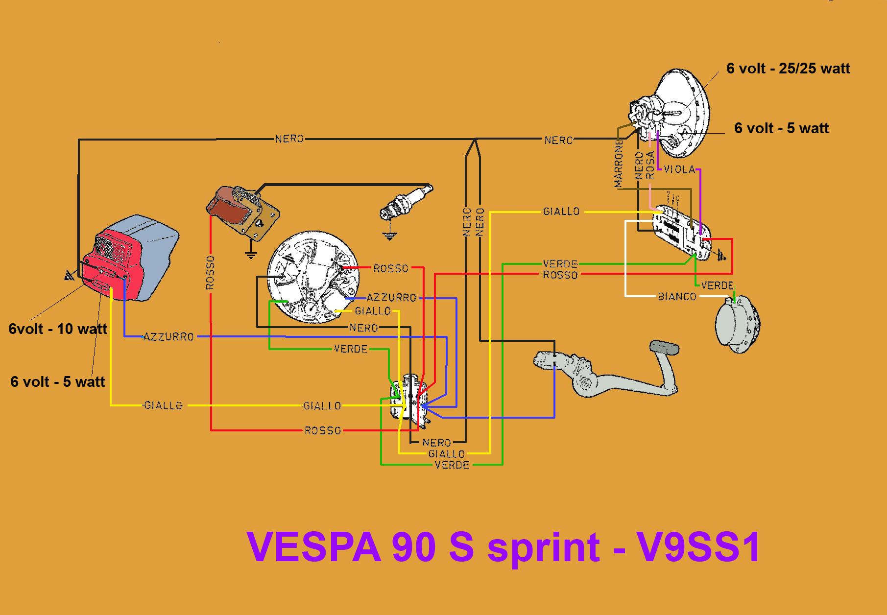 Schema Elettrico Vespa 50 Special : Schema elettrico vespa s sprint v ss club